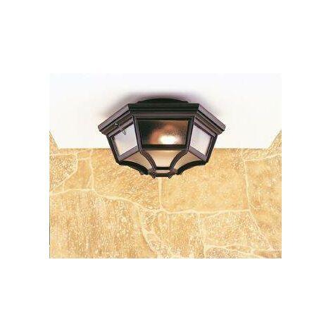 """main image of """"Firstlight - 1 Light 6 Panel Lantern - Flush Ceiling Light Black IP43, E27"""""""