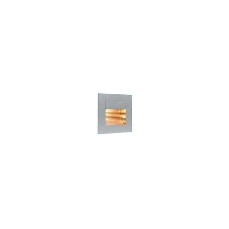 Image of 1 Light Indoor Recessed Wall & Step Light Satin Steel,out Glass Cover, G4 Bulb - Firstlight