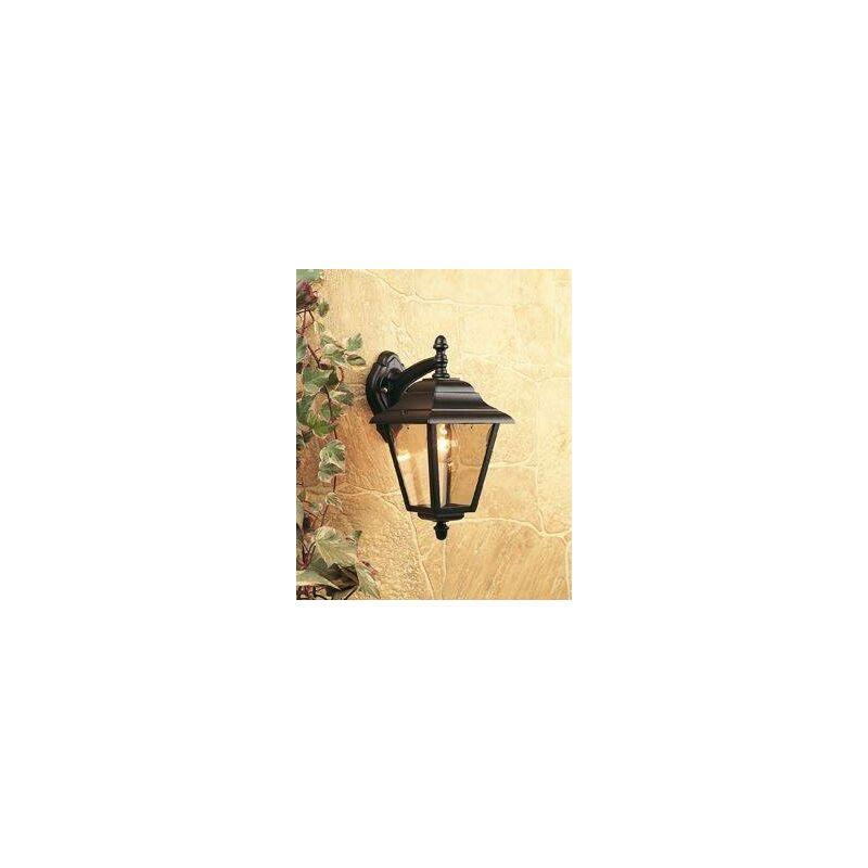 Image of 1 Light Outdoor 4 Panel Lantern - Downlight Black IP43, E27 - Firstlight