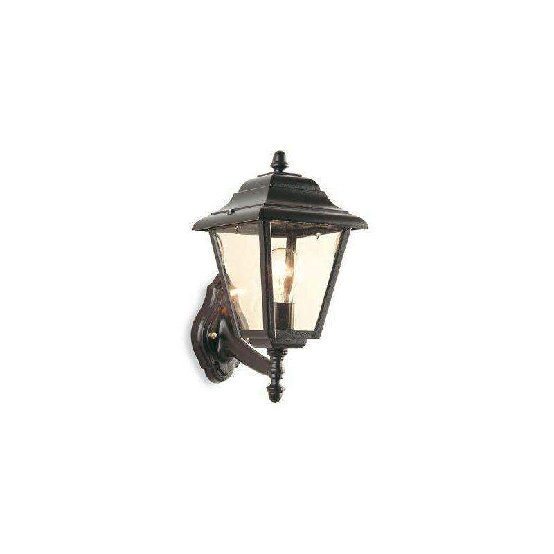 Image of 1 Light Outdoor 4 Panel Lantern - Uplight Black IP43, E27 - Firstlight