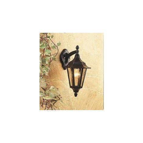 Firstlight - 1 Light Outdoor 6 Panel Lantern - Downlight Black IP43, E27