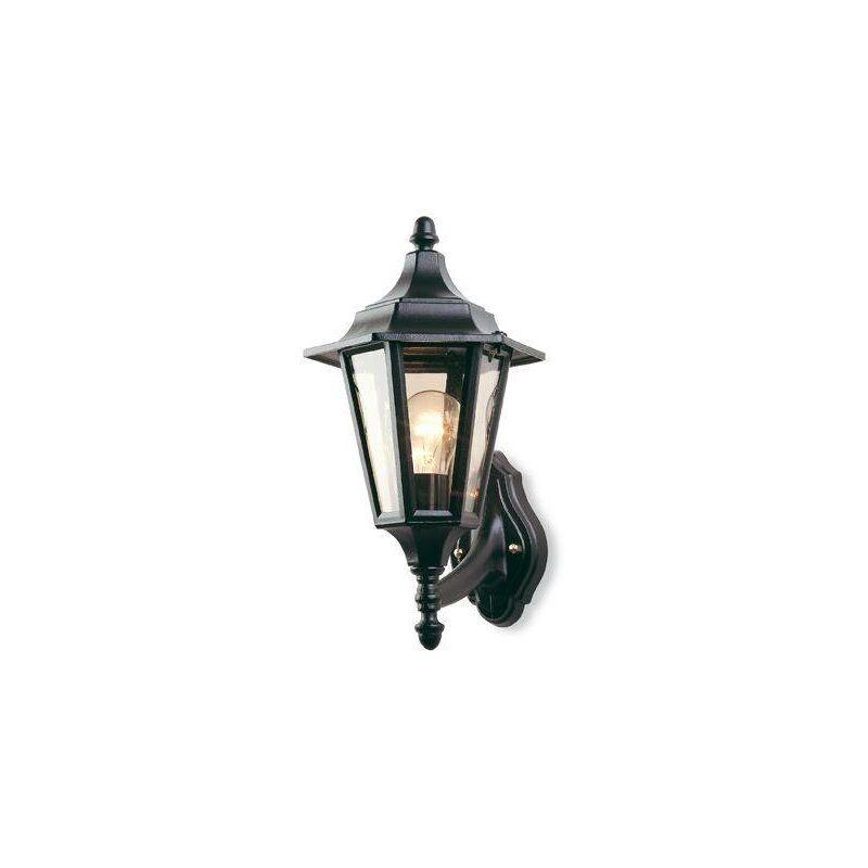 Image of 1 Light Outdoor 6 Panel Lantern - Uplight Black IP43, E27 - Firstlight