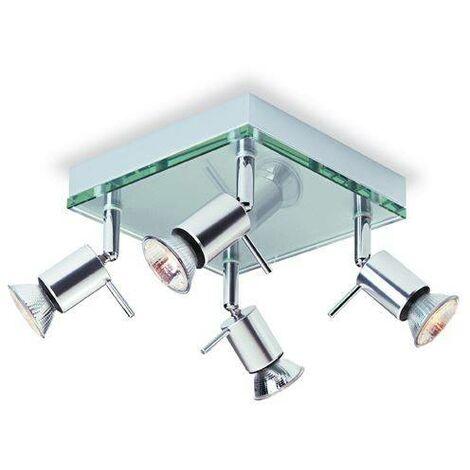 Firstlight Aqua - 4 Light Square Flush Light Aluminium, Clear Glass, GU10