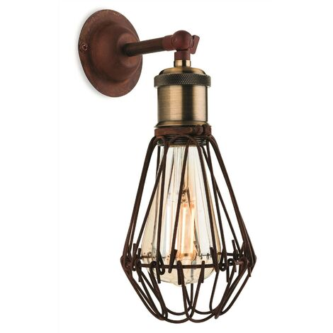 Firstlight Arcade - 1 Light Wall Cage Light Rustic Brown, E27