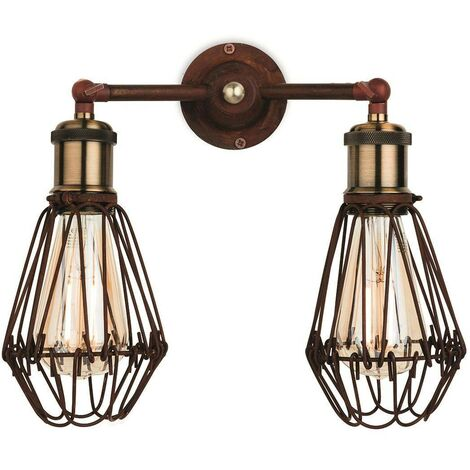 Firstlight Arcade - 2 Light Wall Cage Light Rustic Brown, E27