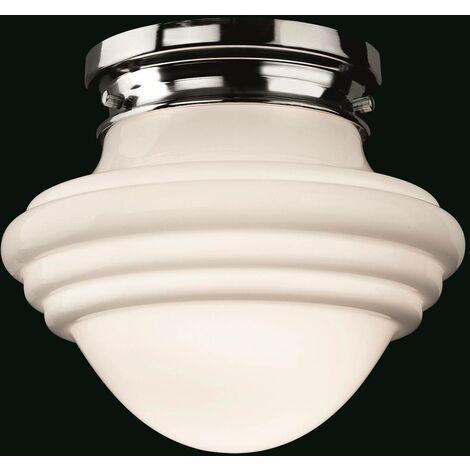 Firstlight Art - 1 Light Flush Light Chrome, Opal White Glass, E27