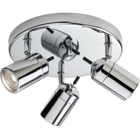 Firstlight Atlantic - 3 Light Flush Bathroom Ceiling Light Chrome IP44, GU10