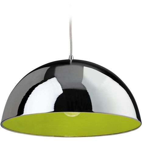 Firstlight Bistro - 1 Light Dome Ceiling Pendant Chrome, Green Inside, E27