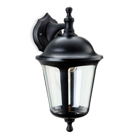 Firstlight Boston - 1 Light Outdoor Wall Lantern - Downlight Black IP44, E27
