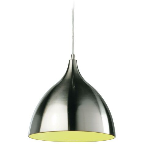 Firstlight Caf - 1 Light Dome Ceiling Pendant Brushed Steel, Green Inside, E27