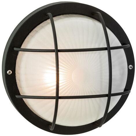 Firstlight Court - 1 Light Outdoor Bulkhead Wall, Flush Light Black, Frosted Glass IP44, E27