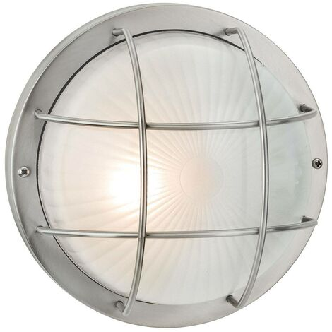 Firstlight Court - 1 Light Outdoor Bulkhead Wall, Flush Light Stainless Steel, Frosted Glass IP44, E27