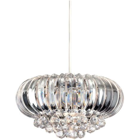 Firstlight Crown - 1 Light Easy-Fit Ceiling Pendant Chrome, Clear Acrylic, E27