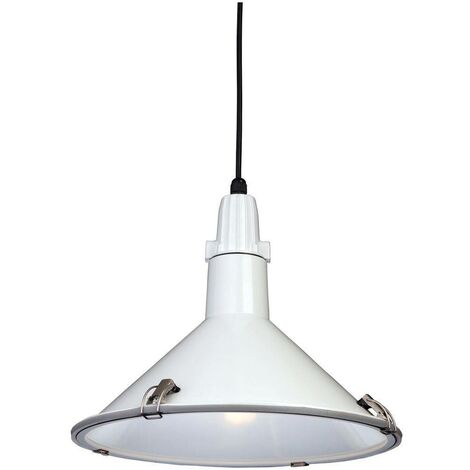 Firstlight Eden - 1 Light Dome Ceiling Pendant White IP44, E27