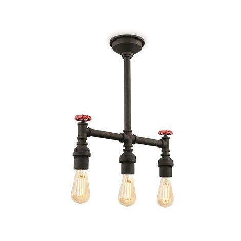Firstlight Factory - 3 Light Semi Flush Light Rustic Black, E27