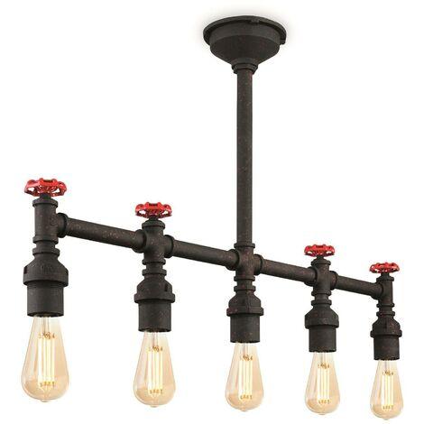 Firstlight Factory - 5 Light Semi Flush Light Rustic Black, E27