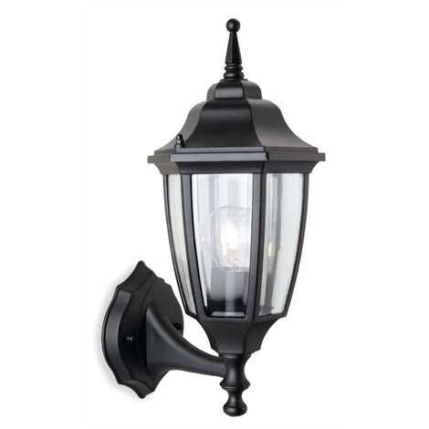 Firstlight Faro - 1 Light Outdoor Wall Lantern - Uplight Black IP44, E27