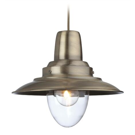 Firstlight Fisherman - 1 Light Dome Ceiling Pendant Antique Brass, Clear Glass, E27