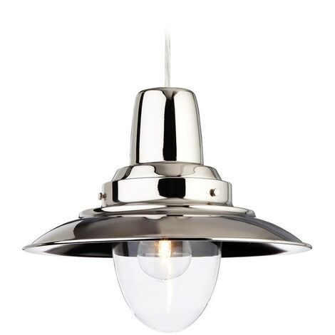 Firstlight Fisherman - 1 Light Dome Ceiling Pendant Chrome, Clear Glass, E27
