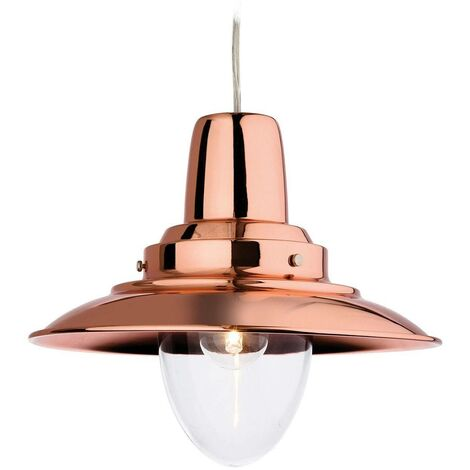 Firstlight Fisherman - 1 Light Dome Ceiling Pendant Copper, Clear Glass, E27