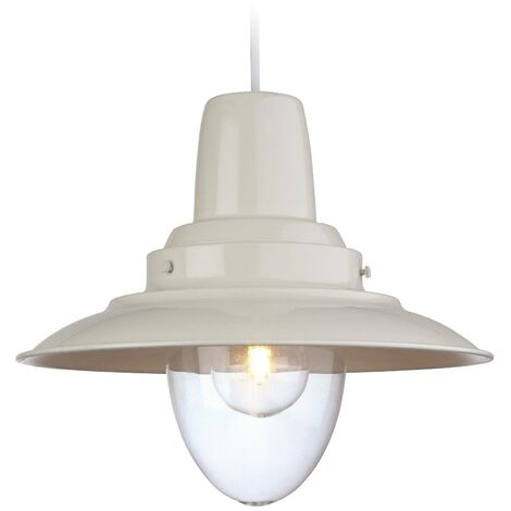 Firstlight Fisherman - 1 Light Dome Ceiling Pendant Cream, Clear Glass, E27