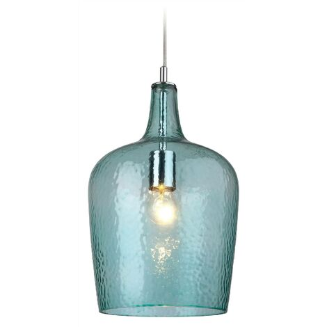 Firstlight Glass - 1 Light Glass Dome Ceiling Pendant Chrome, Aqua Glass, E27