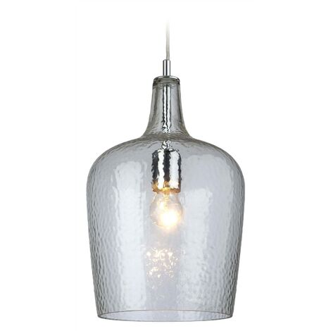 Firstlight Glass - 1 Light Glass Dome Ceiling Pendant Chrome, Clear Glass, E27