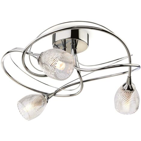 Firstlight Henley - 3 Light Flush Light Chrome, Clear Decorative Glass, G9