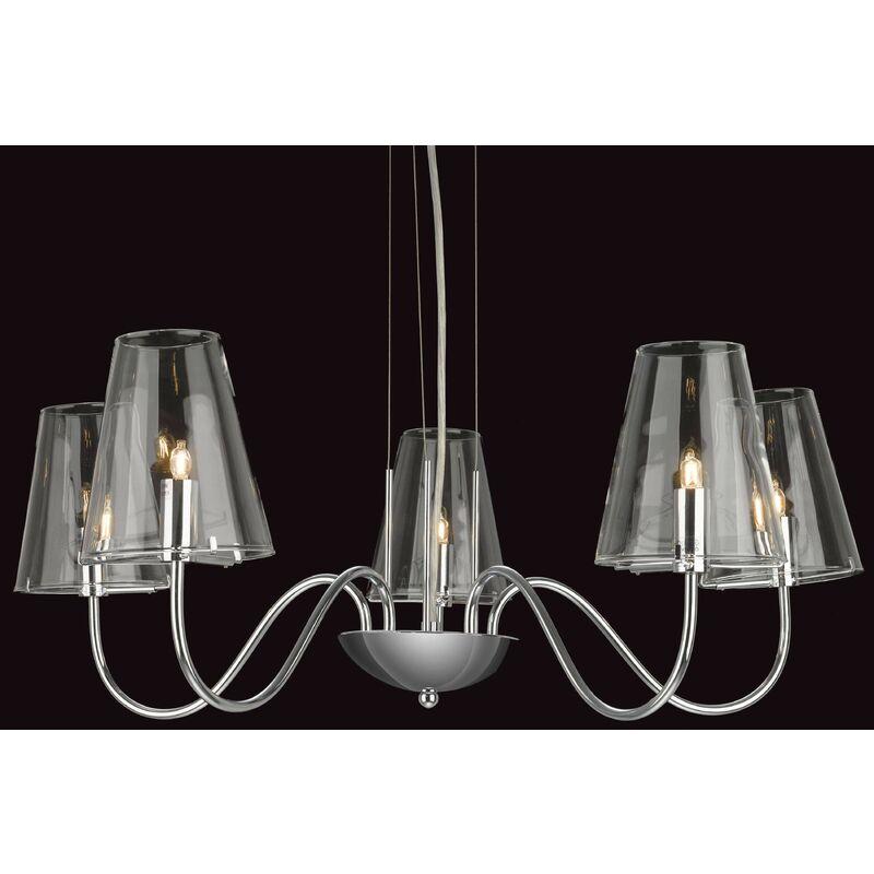 Image of Hanging lamp 5 Jasmine bulbs, chrome and glass
