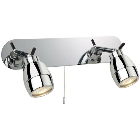 Firstlight Marine - 2 Light Spotlights Bar Switched Bathroom Ceiling Light Chrome IP44, GU10