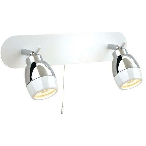 Firstlight Marine - 2 Light Spotlights Bar Switched Bathroom Ceiling Light White, Chrome IP44, GU10