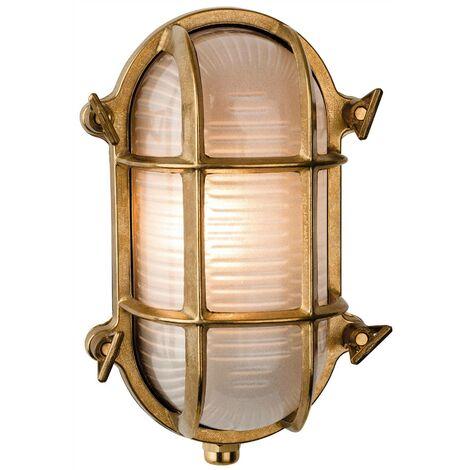 Firstlight Nautic - 1 Light Outdoor Bulkhead Wall, Flush Light Brass, Frosted Glass IP64, E27
