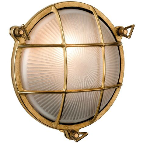 Firstlight Nautic - 1 Light Outdoor Bulkhead Wall, Flush Light Brass, Frosted Glass IP64, E27