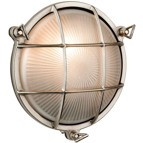 Firstlight Nautic - 1 Light Outdoor Bulkhead Wall, Flush Light Nickel, Frosted Glass IP64, E27