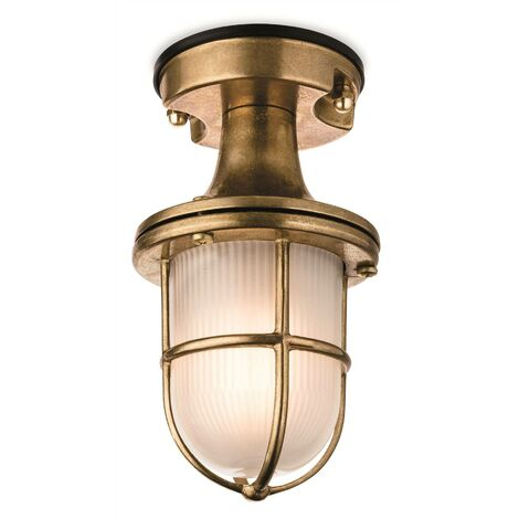Firstlight Nautic - 1 Light Outdoor Flush Light Brass with Frosted Glass IP54, E27