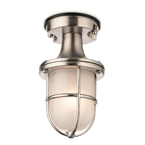Firstlight Nautic - 1 Light Outdoor Flush Light Nickel with Frosted Glass IP54, E27