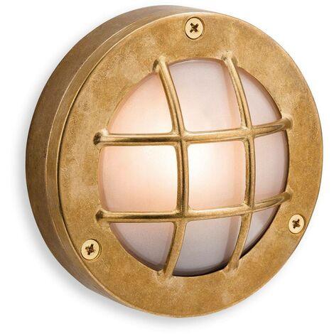 Firstlight Nautic - 1 Light Outdoor Wall, Flush Light Brass, Frosted Glass IP64, G9