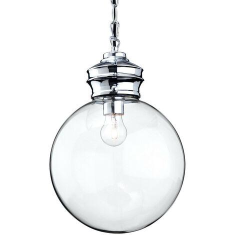 Firstlight Omar - 1 Light Globe Ceiling Pendant Chrome, Clear Glass, E27