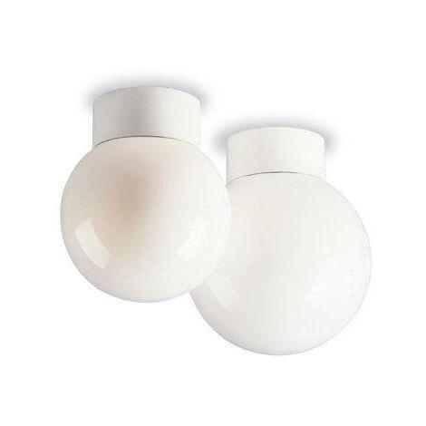 Firstlight Opal - 1 Light Opal Glass Sphere Flush Globe Ceiling Light - 60W White, B22