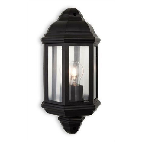 Firstlight Park - 1 Light Outdoor Wall Lantern Black Polycarbonate IP44, E27
