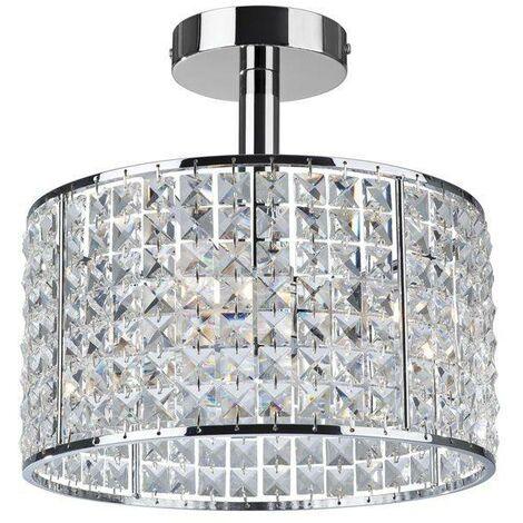 Firstlight Pearl - 4 Light Semi Flush Bathroom Ceiling Ceiling Pendant Light Chrome, Crystal IP44, G9