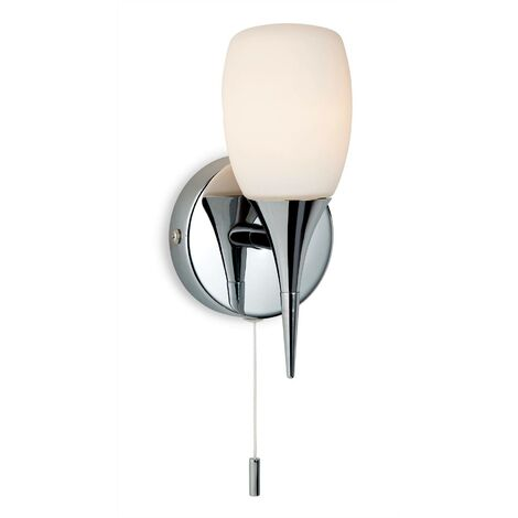 Firstlight Robano - 1 Light Switched Bathroom Wall Light Chrome, Opal Glass IP44, G9