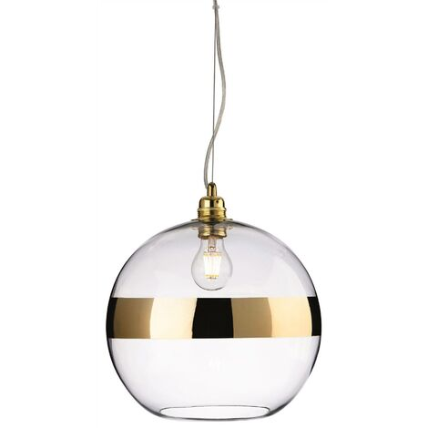 Firstlight Saturn - 1 Light Globe Ceiling Pendant Gold, Clear Glass, E27