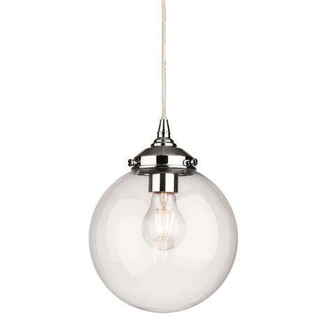 Firstlight Seville - 1 Light Globe Ceiling Pendant Chrome with Clear Glass, E27