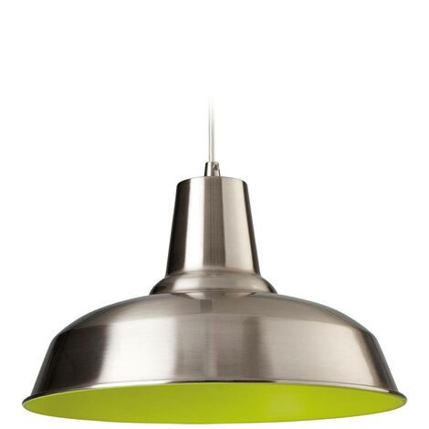Firstlight Smart - 1 Light Dome Ceiling Pendant Brushed Steel, Green Inside, E27