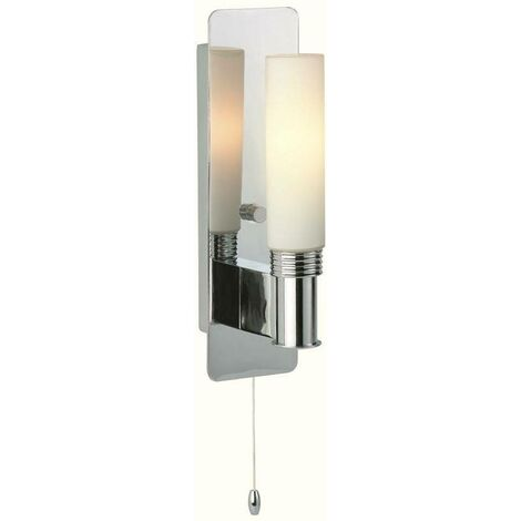 Firstlight Spa - 1 Light Single Bathroom Ceiling Switched Wall Light Chrome, Opal Glass IP44, G9