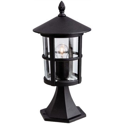 Firstlight Stratford - 1 Light Outdoor Lantern Pillar Black IP44, E27