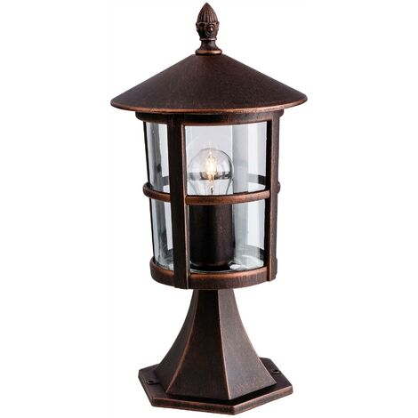 Firstlight Stratford - 1 Light Outdoor Lantern Pillar Bronze IP44, E27