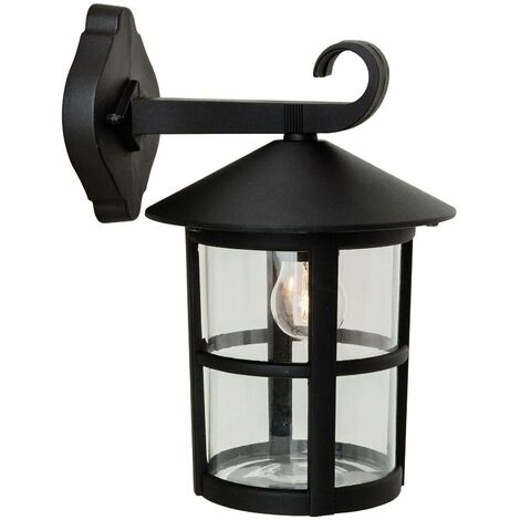 Firstlight Stratford - 1 Light Outdoor Wall Lantern - Downlight Black IP44, E27