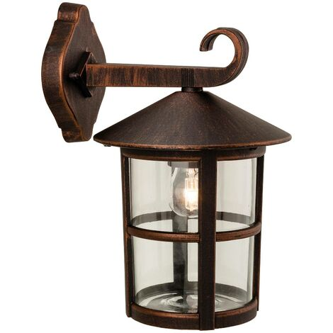 Firstlight Stratford - 1 Light Outdoor Wall Lantern Downlight Bronze IP44, E27
